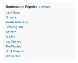 La etiqueta #biblioteca, trending topic en España a las 19:53.